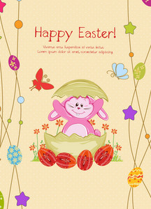 Bunny With Eggs Vector Illustration