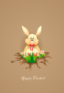 Bunny With Floral Vector Illustration