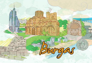 Burgas Doodles Vector Illustration