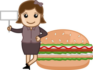 Burger - Cartoon Business Vector Character