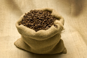 Burlap Bag Full of Coffee Beans