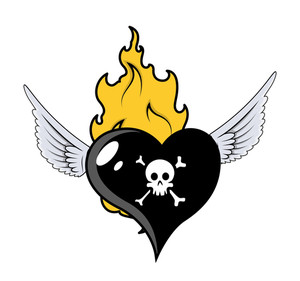 Burning And Flying Black Heart - Vector Cartoon Illustration