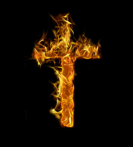 Burning Cross background on black