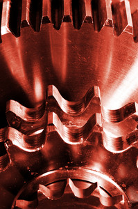 burning gears and cogwheels in close-ups