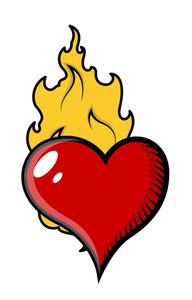 Burning Heart In Flames Vector Illustration