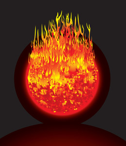 Burning Planet. Vector.