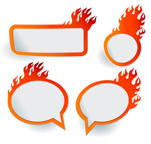 Burning Tags And Icons. Vector.