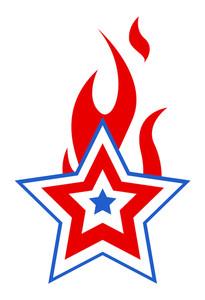 Burning Usa Patriotic Star 4th Of July Vector Illustration