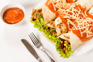 Burritos On White Background
