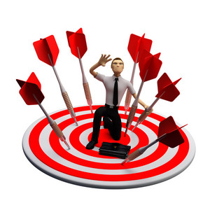 Businassman Standing On The Archery Board. Conceptual Business Illustration