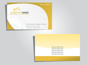 Business Card On Green Abstract Background