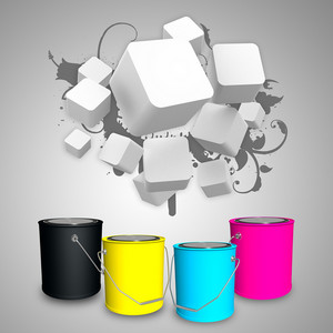 Business Cubes On Cmyk Buckets