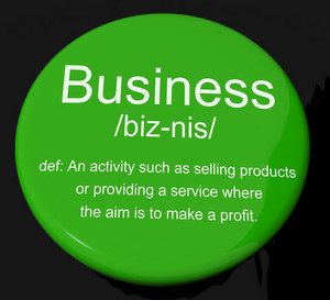 Business Definition Button Showing Commerce Trade Or Company