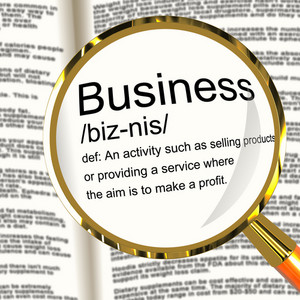 Business Definition Magnifier Showing Commerce Trade Or Company