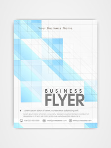 Business flyer template or brochure design in blue and white color combinations.
