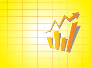 Business Graph On Yellow Background