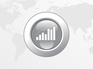 Business Graph With Arrow On Global Background