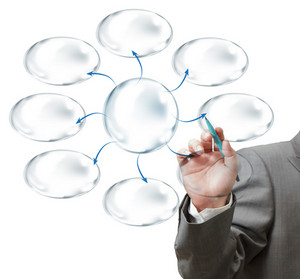 Business Hand Drawing And Blank Bubble Diagram