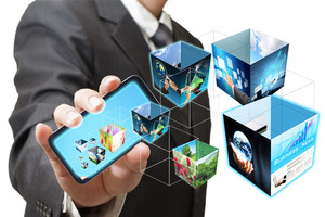 Business Hand Shows Touch Screen Mobile Phone With 3d Streaming Images
