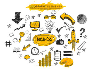 Business infographic elements with various creative hand drawn icons.