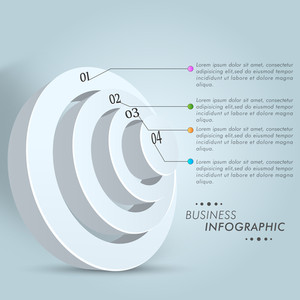Business infographic layout with 3D glossy circles.