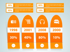 Business infographic layout with different year and percentage graph on grey background.