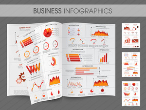 Business infographic magazine with creative elements for your presentation and report include pie chart