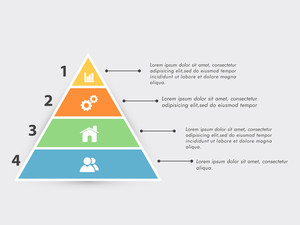 Business infographic triangle with web symbols on grey background.