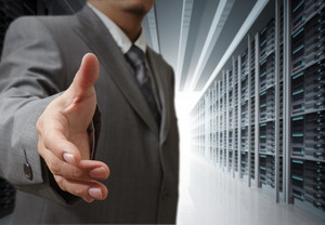 Business Man And Server Rack Background