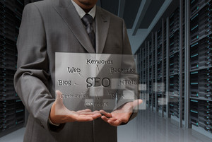 Business Man Hand Shows Virtual Screen Of Seo Diagram