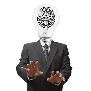 Business Man Light Bulb And Pixel Brain Sign