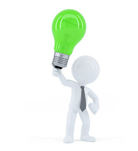 Business Man With Green Light Bulb. Concept Of Creative Business Idea