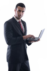 Business Man Work On Mini Laptop