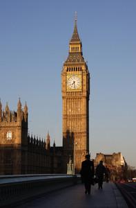 Business Men Walking Near Big Ben In London