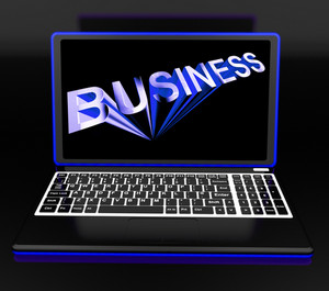 Business On Laptop Shows Online Managing