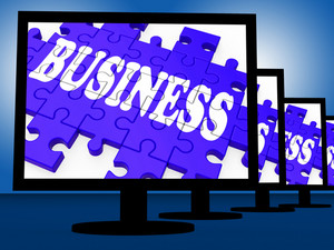 Business On Monitors Shows Commercial Trades