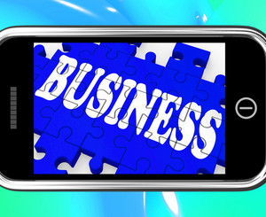 Business On Smartphone Showing Commercial Transactions
