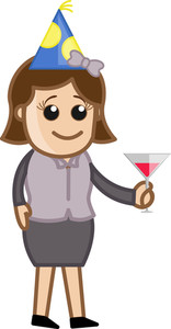 Business Party Girl Drinking - Cartoon Business Character