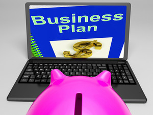 Business Plan On Laptop Showing Business Strategies