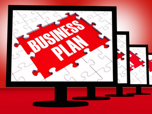 Business Plan On Monitors Showing Corporate Management