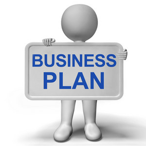 Business Plan Sign Showing Mission And Organizing