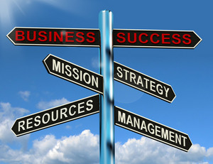 Business Success Signpost Showing Mission Strategy Resources And Management