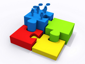 Business Teamwork On Puzzle Pieces To Success