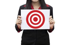 Business woman Leader hand working pressing on target goal concept