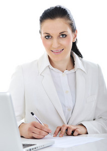 Business woman on desk signing agreement