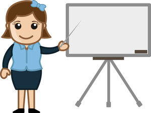 Business Woman Presentation On White Board - Cartoon Bussiness Vector Illustrations