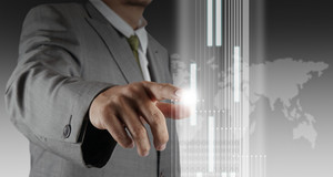 Businessman Hand Touch Virtual Interface