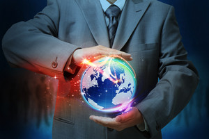 Businessman Holding A Glowing, Connected,as Concept