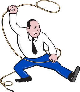 Businessman Holding Lasso Rope