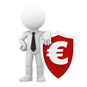 Businessman Holding Shield With A Euro Currency Symbol. Conceptual Business Illustration.